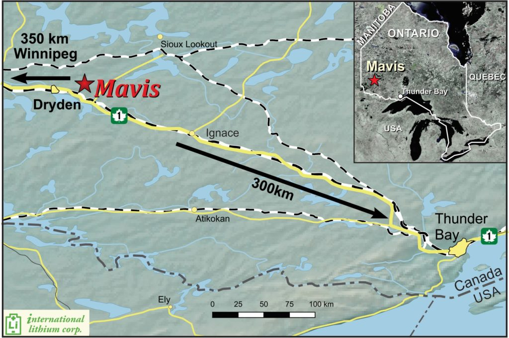 Figure 1: Mavis Lithium Pegmatite Project Location map