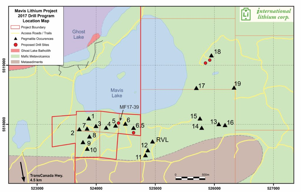 Figure 2: Mavis Lithium Pegmatite Project 2017 Proposed Drill Sites Location Map